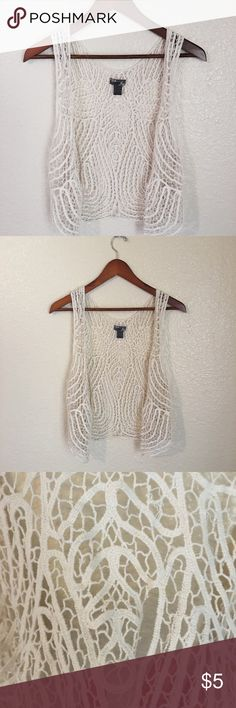 Boho Lace Cardigan Lace Ivory Cardigan• Great for layering• Some Snags and Tears• See third Picture• not noticeable• Good condition• Washing instructions and Materials Listed In Picture Above• 100% Cotton Poetry Tops
