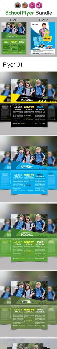 """activity, ad, adventure, back to school flyer, boys, camp, child, children, class, community, day, family, flyer, fun, girls, holiday, junior, kids, kids summer camp, kindergarten, pamphlet, play group, poster, pre school, program, school, school flyer, sport, summer, teen FEATURES:  Flyer 01 Size 8.5""""x11""""  Bleed: .25""""  Four color variations  Files Included : Adobe Illustrator CS5 & CC Format (AI, EPS)  Free Fonts Used Clean & Modern Design 300 DPI CMYK Help file included  Flyer 02 ..."""