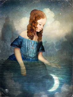 """""""Drowned Moon"""" Digital Art by Christian Schloe posters, art prints, canvas prints, greeting cards or gallery prints. Find more Digital Art art prints and posters in the ARTFLAKES shop. Art And Illustration, Fantasy Kunst, Fantasy Art, Art Amour, Sculpture Textile, Illustrator, Max Ernst, Magic Realism, Magritte"""