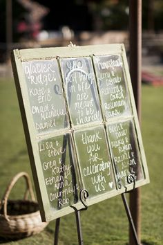 Antique windowpane, wedding sign, white script // Caitlin O'Reilly Photography