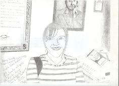 Dibujo a lapíz, de Edith Lira con retrato de Ron. Por MRR.