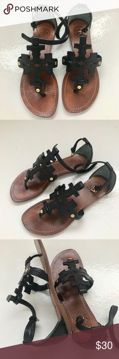 Ladies Tory Burch black leather sandals 6M Beautiful Tory Burch black leather sandals. Very good condition with normal wear. Smoke free home. Tory Burch Shoes Sandals
