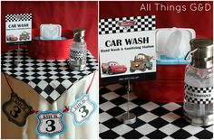 "The Making of Kate's Cars Birthday Party - ""Car Wash"" hand wash and sanitizing station! 