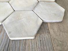 """French Provincial Aged Terra Cotta Tile Flooring La Vie Douce French Provincial Aged Terra Cotta Tile Tomette 7"""" Color: Jaune Gris Clair"""