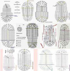 Learn To Crochet Cute Flower Slippers Crochet Sole, Crochet Shoes Pattern, Crochet Motifs, Crochet Diagram, Crochet Chart, Free Crochet, Crochet Stitches, Crochet Baby Boots, Crochet Baby Sandals