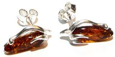 Love Amber x Cognac Baltic Amber Pear Silver 925 Stud Earrings