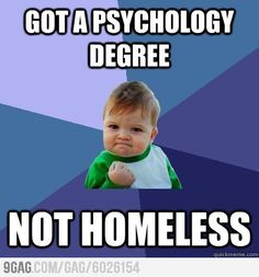 The success as a student with psychology degree. -I hope I'm not having to search horribly for a job when I graduate!! Please! Just send me a job! 2 more years!!