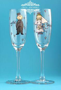 "Wedding glasses ""Jast Married"". The paintings"