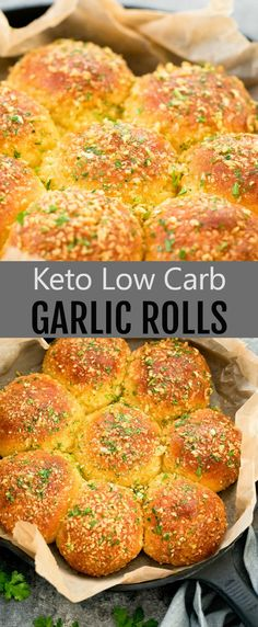 Keto Garlic Rolls. These pull-apart bread rolls are a great low carb alternative to traditional dinner rolls. They are cheesy, fluffy, and garlicky