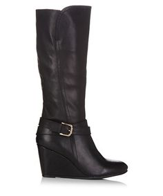 Black wedge boots with buckle strap Sale - REVEAL Sale