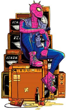 Spiderman Spider-Punk by Roman Titov Amazing Spiderman, Art Spiderman, Marvel Art, Marvel Dc Comics, Marvel Heroes, Marvel Characters, Ms Marvel, Captain Marvel, Comic Books Art