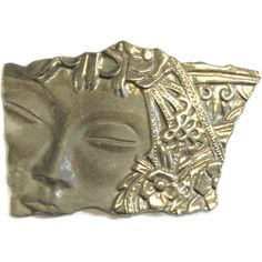 Vintage Art Nouveau Brooch Of Woman's Face In Pewter JJ Brooch ($22) ❤ liked on Polyvore featuring jewelry, art nouveau jewellery, vintage jewelry, pewter jewelry, vintage jewellery and vintage art nouveau jewelry