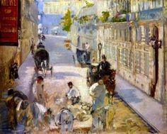 Reproduction de Manet, Travailleurs De Rue - Rue De Berne. Tableau peint à la main dans nos ateliers. Peinture à l'huile sur toile.