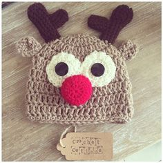 Crochet Rudolf the Reindeer Hat by CrochetCottageGifts on Etsy Reindeer Hat, Crochet Hats, Beanie, Cottage, Trending Outfits, Unique Jewelry, Handmade Gifts, Shop, Christmas