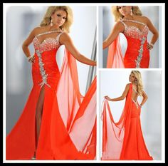 Long Mermaid Prom Dresses One Shoulder 2016 Chic Orange Side Slit Crystal Chiffon Formal Evening Gowns Backless Special Occasion Dresses Boho Prom Dresses Cheap Plus Size Prom Dresses From Aprildress01, $115.58| Dhgate.Com