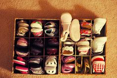 organize baby shoes: my little girl has soooo many shoes and isn't even born yet!!! Hahaha!