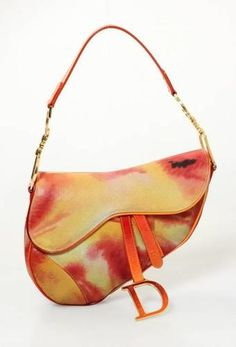 Christian Dior Red Orange Tie Dye Suede Patent Leather Saddle Bag