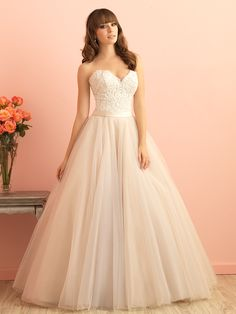 Beautiful romantic ballgown with the perfect combination of lace, satin, and English net!  Allure Romance: 2853