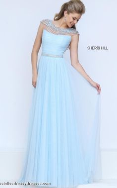 6545bc0b48c Cheap Sherri Hill 50187 Light Blue Open Back Beaded Prom Dresses 2016 Homecoming  Dresses