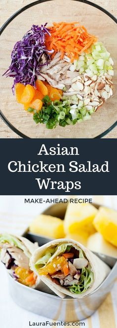 One bowl easy salad turned into a This healthy Asian Chicken Salad Wrap is an easy healthy lunch idea! One bowl easy salad turned into a This healthy Asian Chicken Salad Wrap is an easy healthy lunch idea! Asian Chicken Wraps, Asian Chicken Salads, Chicken Pasta Recipes, Healthy Taco Recipes, Healthy Lunches, Clean Recipes, Yummy Recipes, Salad Recipes, Salad Wraps