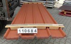Paket 110684 / DD - OMD   Trapezblech 40.250/4 Dach mit gratis Schutzplatte   Stahlsonderprofil Hochvergütungsstahl beidseitig sendzimirverzinkt 275 gr.Zink/m² - Materialstärke: 0,45 mm Polyesterfarblackierung 25 µ Farbton ä. RAL 8004 kupferbraun strukturiert   Nutzdeckbreite pro Platte: 1,000 Meter Liefer-Rechnungsbreite pro Platte: 1,050 Meter   Coil leer walzen