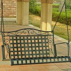 International Caravan Mandalay Wrought Iron Hanging Porch Swing