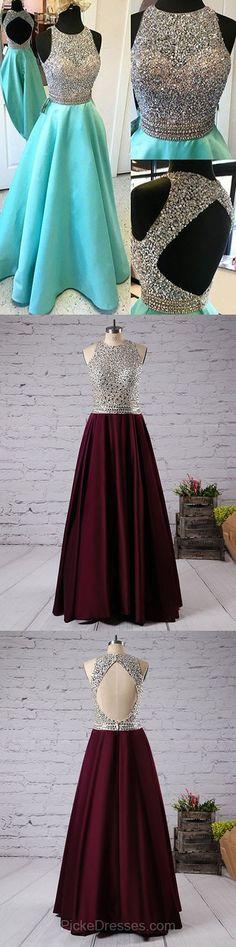 Backless Prom Dresses Long, Best Party Dresses Modest, Scoop Neck Satin Formal Evening Dresses Tulle Beading
