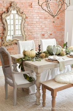 Exposed brick for dining area topped off with a touch of soft elegance!