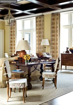desk behind couch room atlanta Sofa Layout, Desk Behind Couch, Library Table, Antique Interior, Living Spaces, Living Rooms, Family Rooms, Beautiful Interiors, Decoration