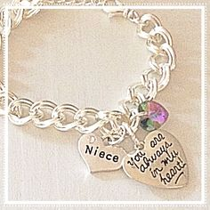 Niece Double Link Charm Bracelet You Are Always In My Heart Swarovski Crystal Custom Jewelry Gift ^^ Awesome jewelry available right here.  : Jewelry