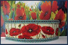 Rememberance Poppy Bead Loom Cuff Pattern by beadsbeadingbeaded
