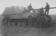 "The crew of a German heavy self-propelled artillery gun class of tank destroyers ""Elephant"""