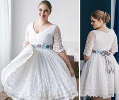 Folklórní svatební šaty s bavlněnou vintage krajkou. krajkový živůtek s lodičkovým výstřihem starodávná bavlněná krajka sukně lemovaná bordurou pas je zvýrazněný folklórní stuhou (možné vyměnit za barevný saténový pásek) svatební šaty vám ušijeme na zakázku