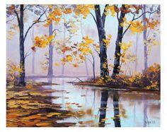 ORIGINAL arte caído hojas Misty Landscape río por GerckenGallery