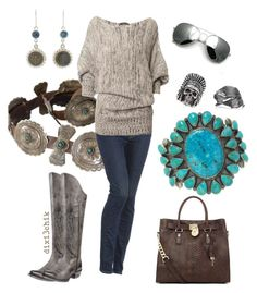Boots by dixi3chik on Polyvore featuring 7 For All Mankind, Ariat, MICHAEL Michael Kors, Virgins Saints & Angels, Alex Monroe, skinny jeans, aviator sunglasses, turquoise jewelry, western and casual