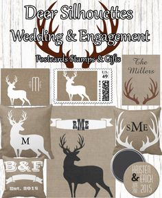 Homedecor Deer Silhouettes And Antlers Theme Monograms Gifts Postage Blankets Pillows Magnets Postcards Stamps