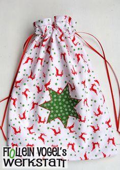 Geschenkbeutel Weihnachten, 27x35 cm von Frollein Vogel´s Werkstatt auf DaWanda.com
