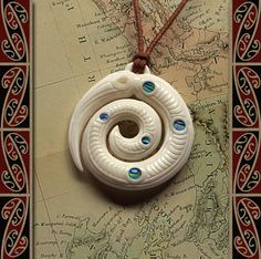 New Zealand Maori Bone Taniwha (with Southern Cross) - Maori Bone Pendant - Bone Carving