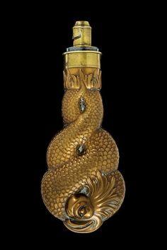 A powder-flask, England, 19th century