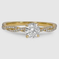 18K Yellow Gold Petite Luxe Twisted Vine Diamond Ring // Set with a 0.7 Carat, Round, Super Ideal Cut, F Color, SI1 Clarity Diamond #BrilliantEarth