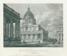 Greenwich Hospital (pictured in 1805) was a permanent home and healthcare facility for disabled sailors of the Royal Navy, which operated from 1692 to 1869. Its buildings were later used by the Royal Naval College and are now known as the Old Royal Naval College.