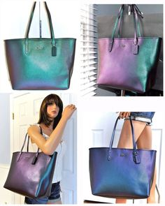 44b889871b83 COACH Hologram Tote Bag (Color Changing) Leather Shoulder Purse 22550 NWT   395