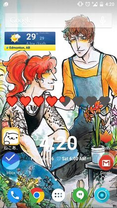 Look at my new home screen courtesy of @avaruuskalat and her beautiful art!!!! (Yes nekoatsume is a home screen app.)