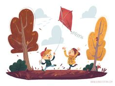 Flying kites - Illustrations Illustrations for Kids Portfolio autumn characters family friendship fun kids nature - by Simone Krüger