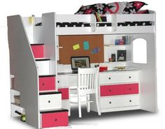 Pink White Loft Beds for Stairs