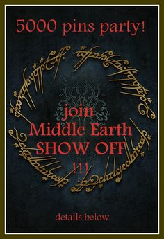 As many of you noticed, we reached 5000 pins here on http://www.pinterest.com/KingThrandy/thranduil-for-president-of-middle-earth/! To celebrate it @KingThrandy decided we should have a party! -why are we not surprised;) The idea is to show off anything Middle Earth related YOU OWN OR CREATED (e.g. merchandise, craft, fanart, fanfic..). Just make a PHOTO AND PIN IT (or link art) to this board, pls tag the King or @Kad ~ KneelAndDeduce for feedback. You may also tag you pin…