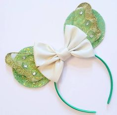 Made-To-Order Tinkerbell Inspired Minnie Mouse ears by lubyandlola