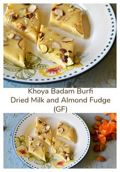 Khoya Badam Burfi: Dried Milk and Almond Fudge - Zesty South Indian Kitchen Indian Desserts, Indian Sweets, Sweet Desserts, Easy Desserts, Best Dessert Recipes, Delicious Desserts, Candy Recipes, Yummy Recipes, Indian Beef Recipes