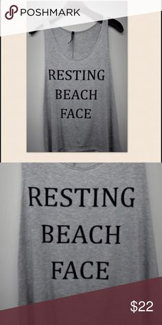 🆕Resting Beach Face Graphic Tank Love this! Resting Beach Face Graphic Tank in Heather Gray. 95% Rayon 5% Spandex Tops Tank Tops