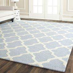 Safavieh Handmade Moroccan Cambridge Light Blue/ Ivory Wool Rug (10' x 14') - Overstock™ Shopping - Great Deals on Safavieh 7x9 - 10x14 Rugs